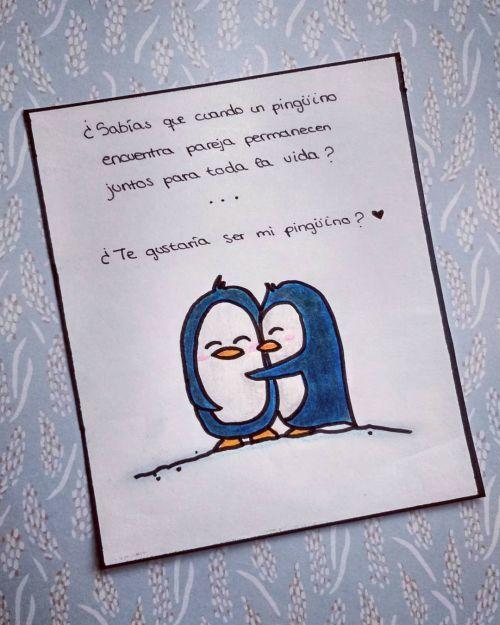 Tarjeta de San Valentín pingüinos