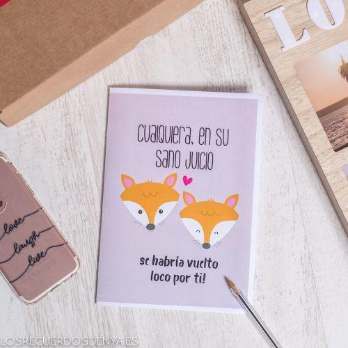 Tarjeta de San Valentín de zorro