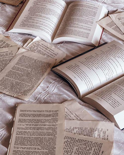 Libros y hojas sueltas sobre cama