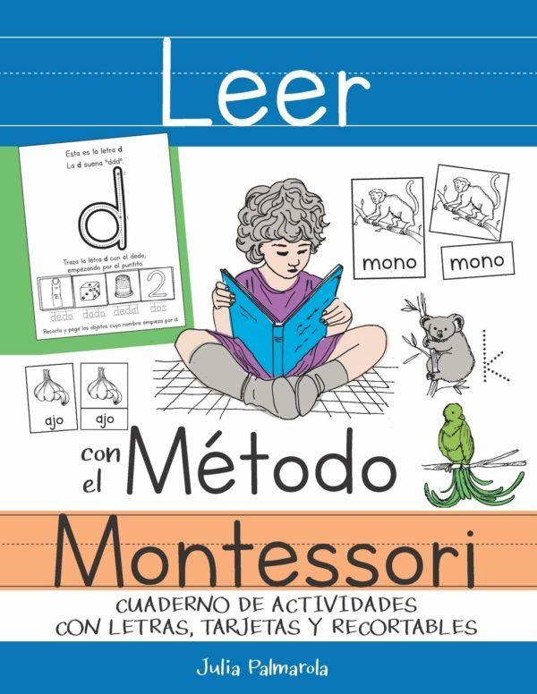 Libros para aprender a leer Leer con el Método Montessori Cuaderno de actividades con letras tarjetas y recortables